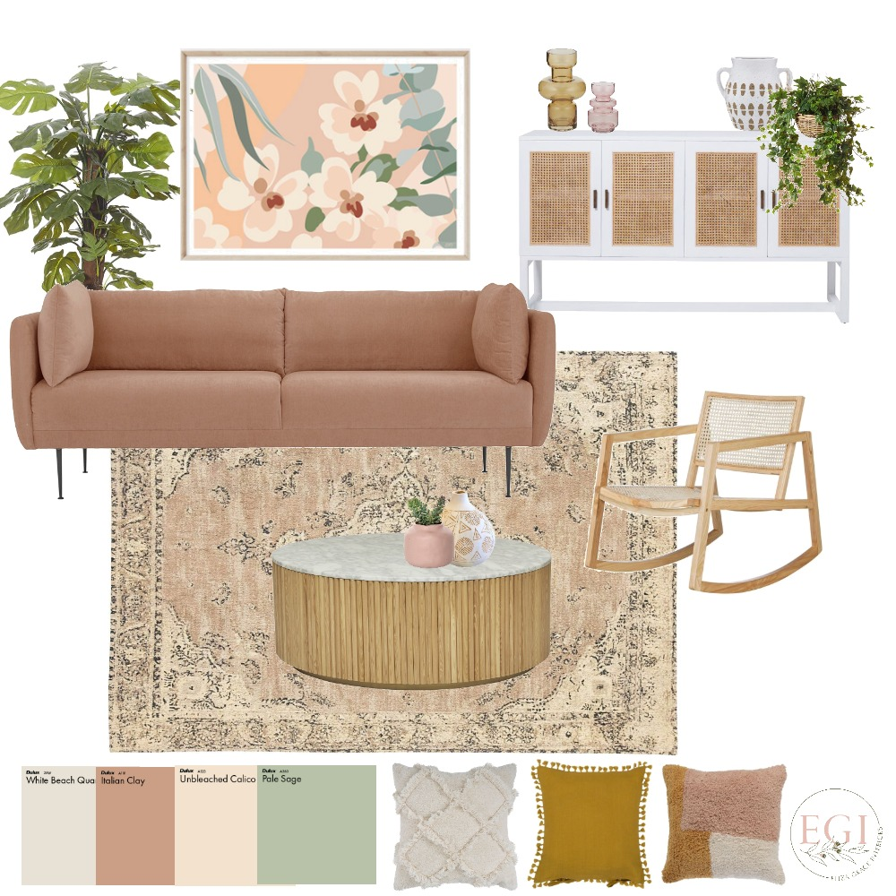 Cosy warm living room Interior Design Mood Board by Eliza Grace Interiors on Style Sourcebook