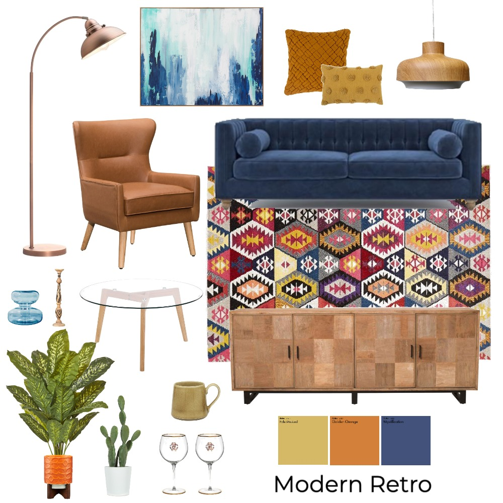 Modern Retro Interior Design Mood Board by lauradeighton96 on Style Sourcebook