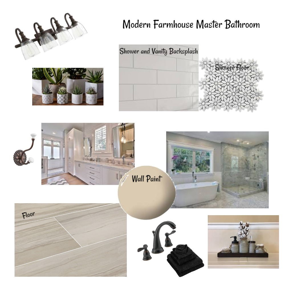 Modern Farmhouse Master Bath Interior Design Mood Board by SarraG on Style Sourcebook