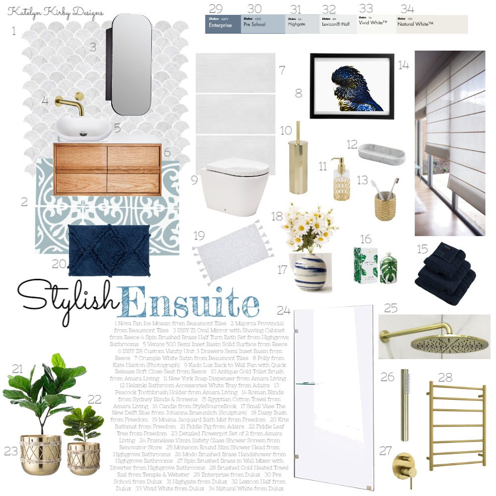 Stylish Ensuite Interior Design Mood Board by Katelyn Kirby Interior Design on Style Sourcebook