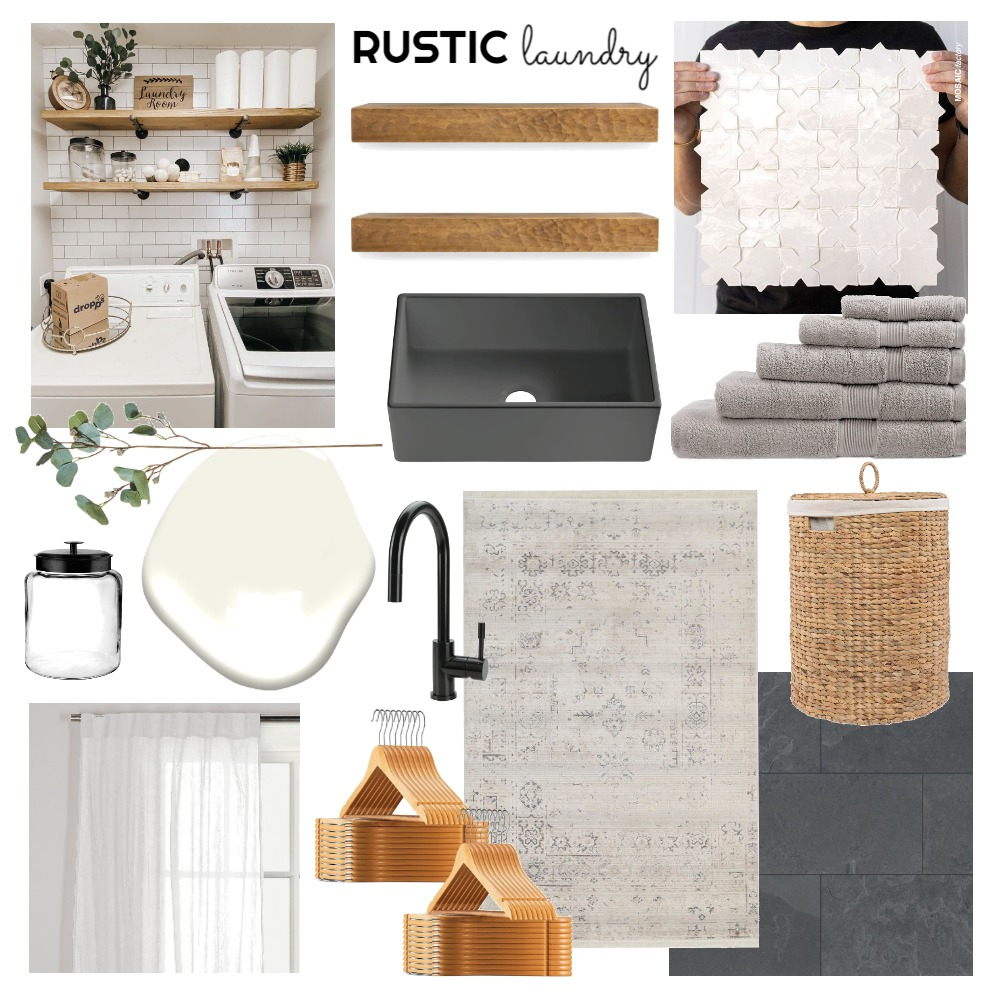 RUSTIC laundry Interior Design Mood Board by Persimmon & Pear on Style Sourcebook
