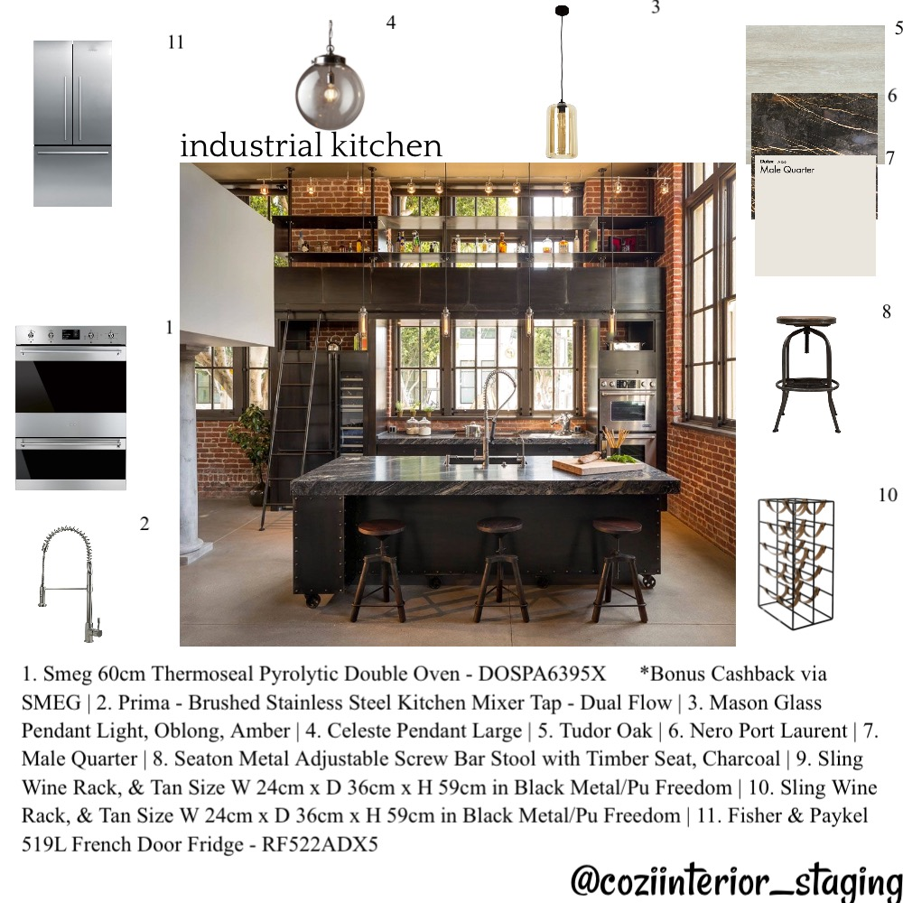 Industrial kitchen Interior Design Mood Board by coziinteriors_staging on Style Sourcebook