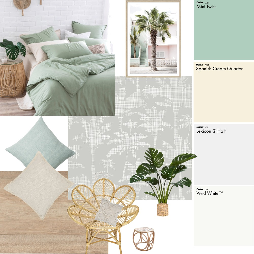 Mint Bedroom Interior Design Mood Board by Fresh Start Interiors on Style Sourcebook
