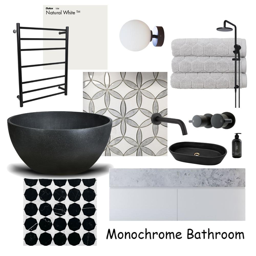Monochrome Bathroom Interior Design Mood Board by designbykmc on Style Sourcebook