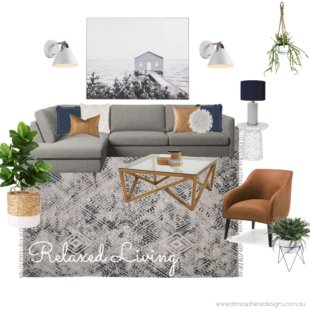 Relaxed Livingroom Interior Design Mood Board by Atmosphere Designs on Style Sourcebook