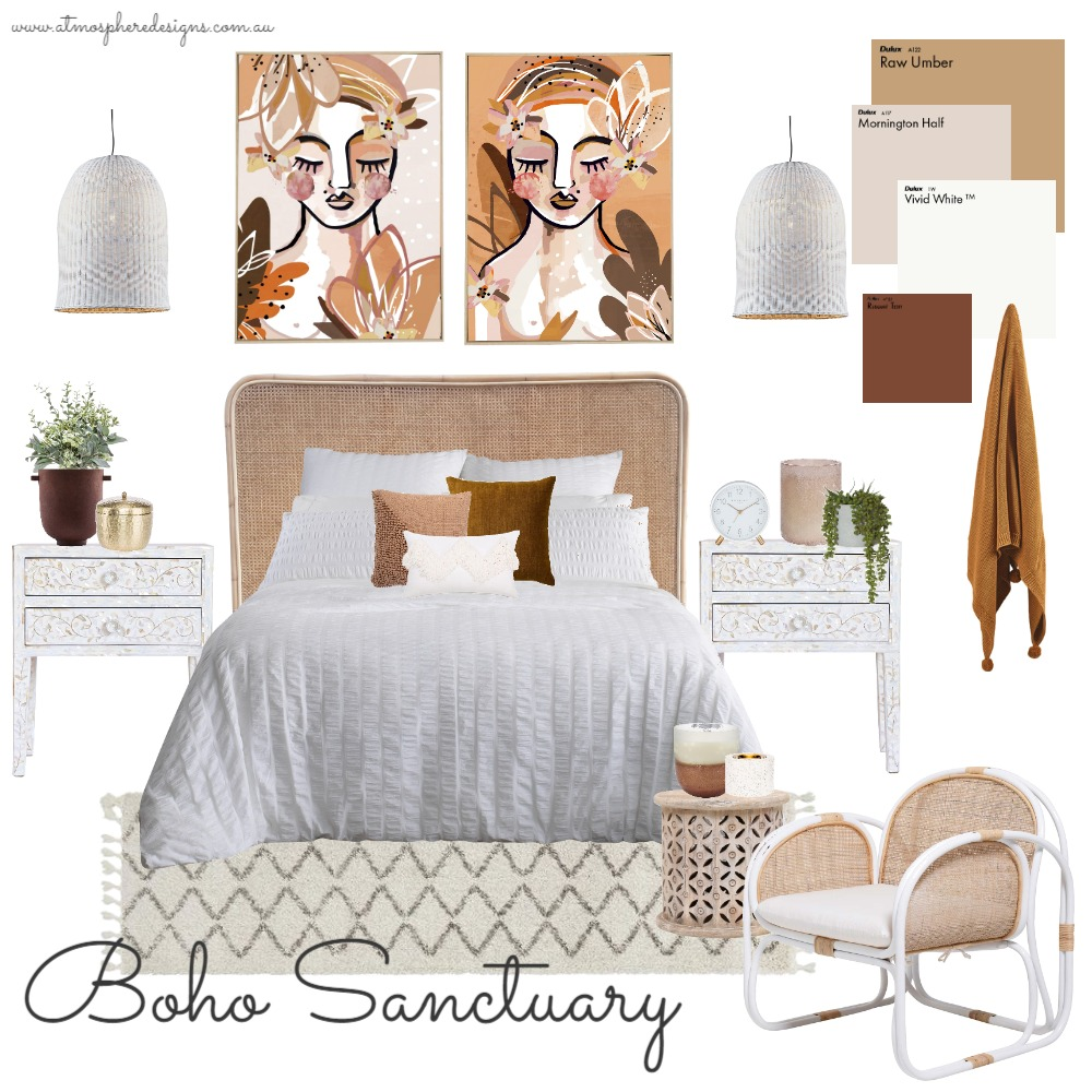Boho Sanctuary Bedroom Interior Design Mood Board by Atmosphere Designs on Style Sourcebook