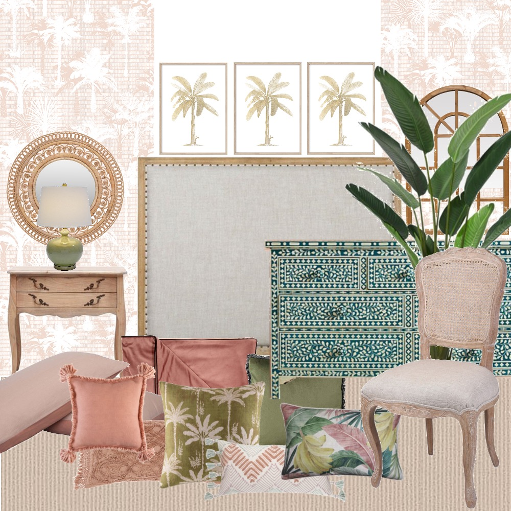 Tropical French Bedroom Interior Design Mood Board by prettyplace on Style Sourcebook