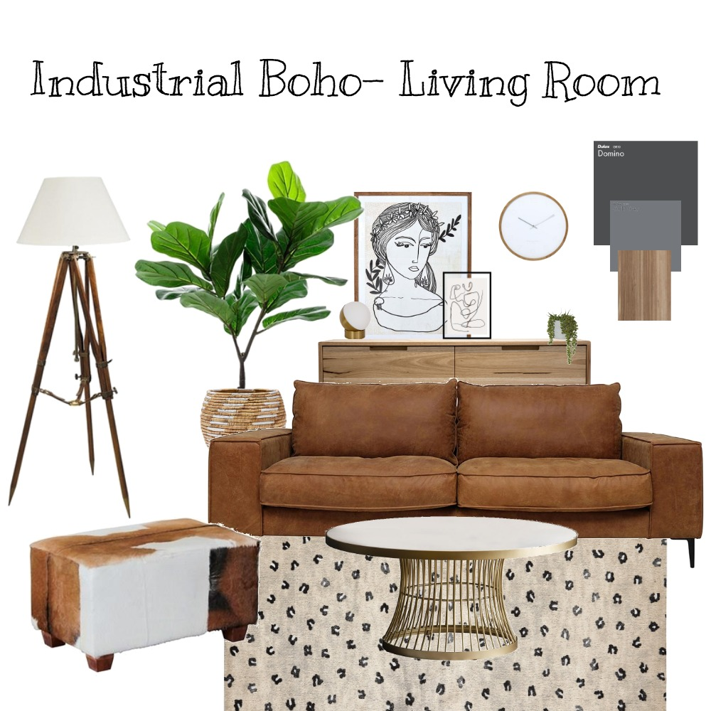 Industrial Boho - living room Interior Design Mood Board by Orange Blossom Interiors on Style Sourcebook