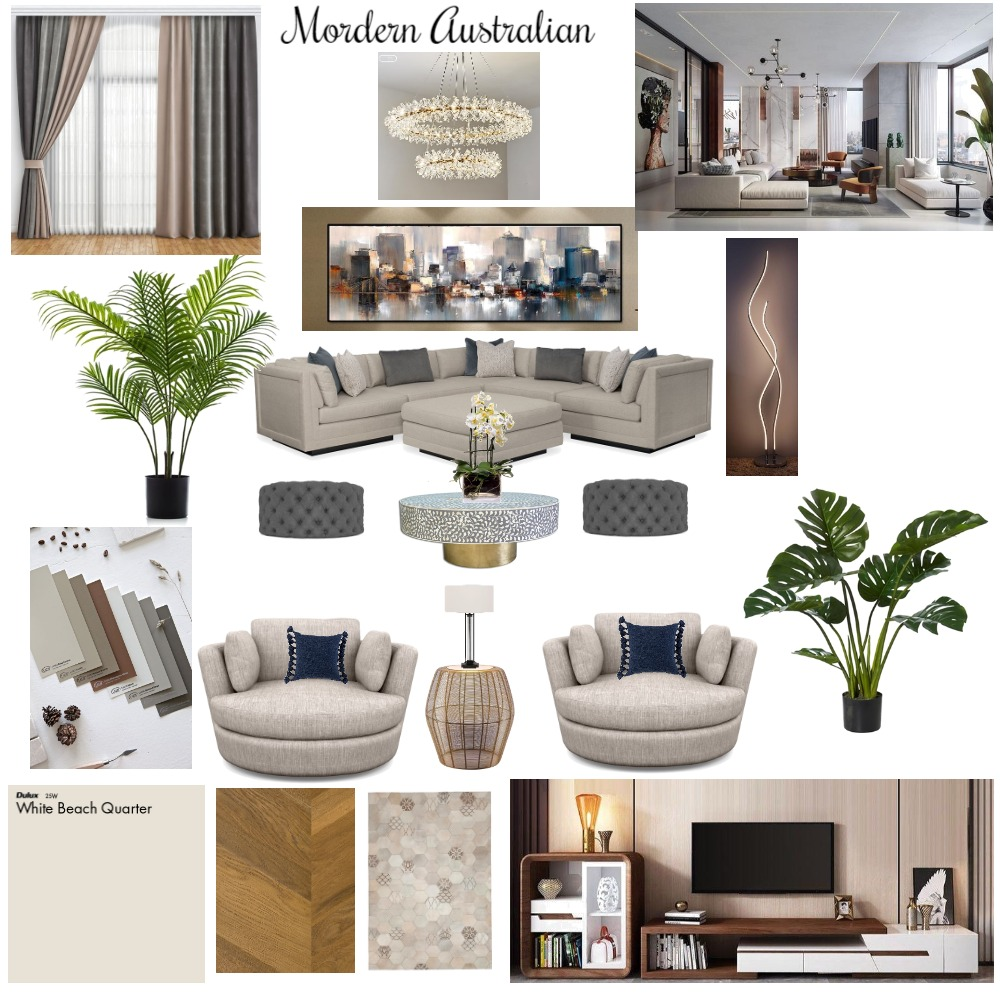 Modern Australian - Living room Interior Design Mood Board by Divine Designs by Fallon Hodgson on Style Sourcebook