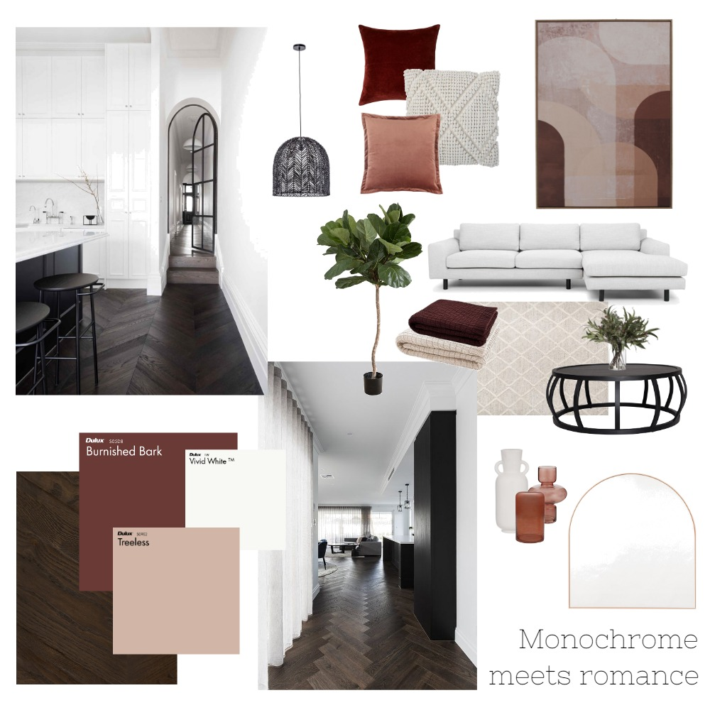 Monochrome meets romance Interior Design Mood Board by Lauren Hutchinson on Style Sourcebook