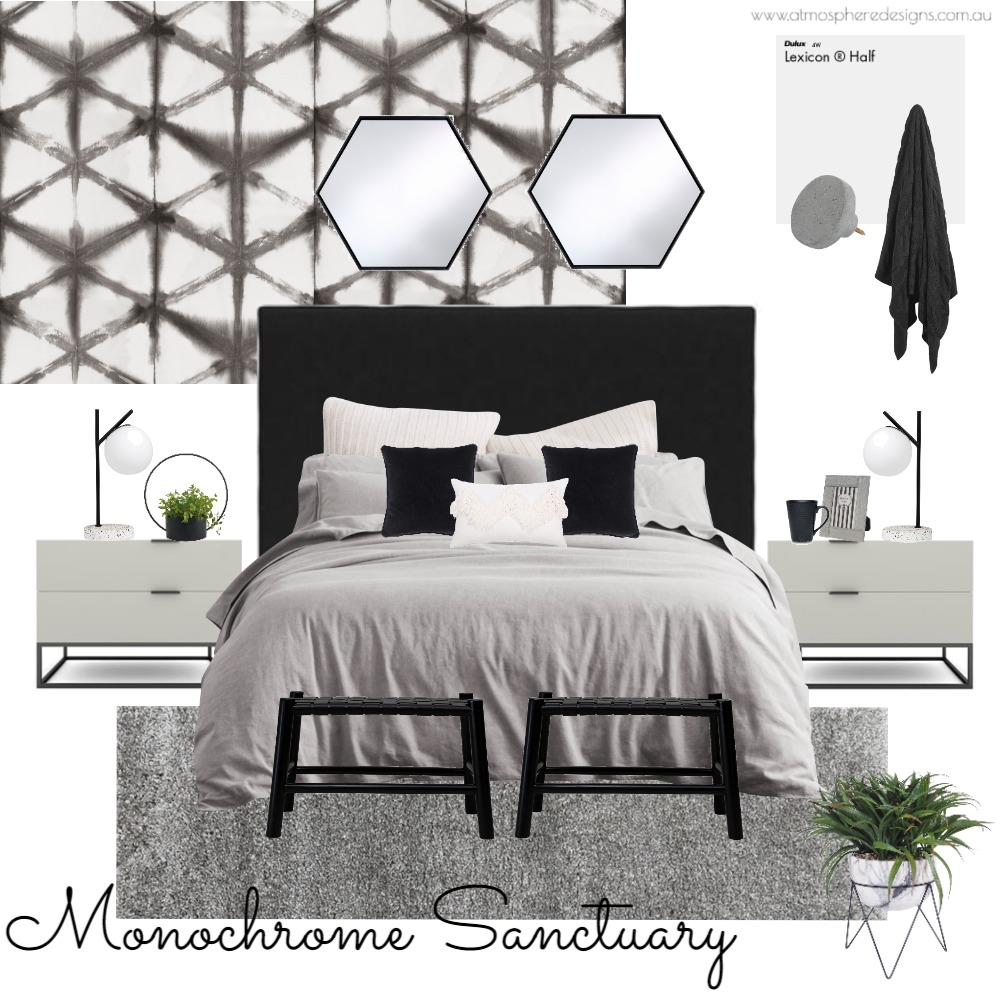 Monochrome Sanctuary Bedroom Interior Design Mood Board by Atmosphere Designs on Style Sourcebook