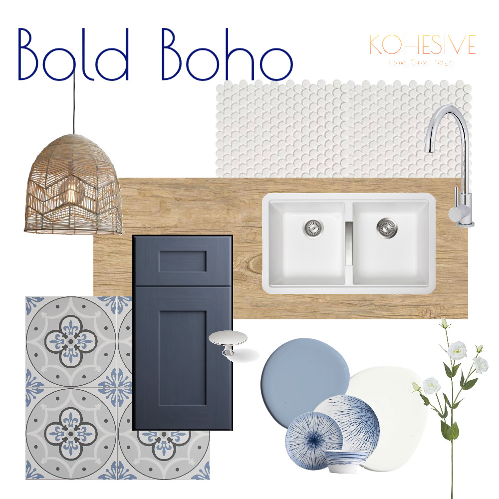 Bright Boho Kitchen Flatlay Interior Design Mood Board by Kohesive on Style Sourcebook