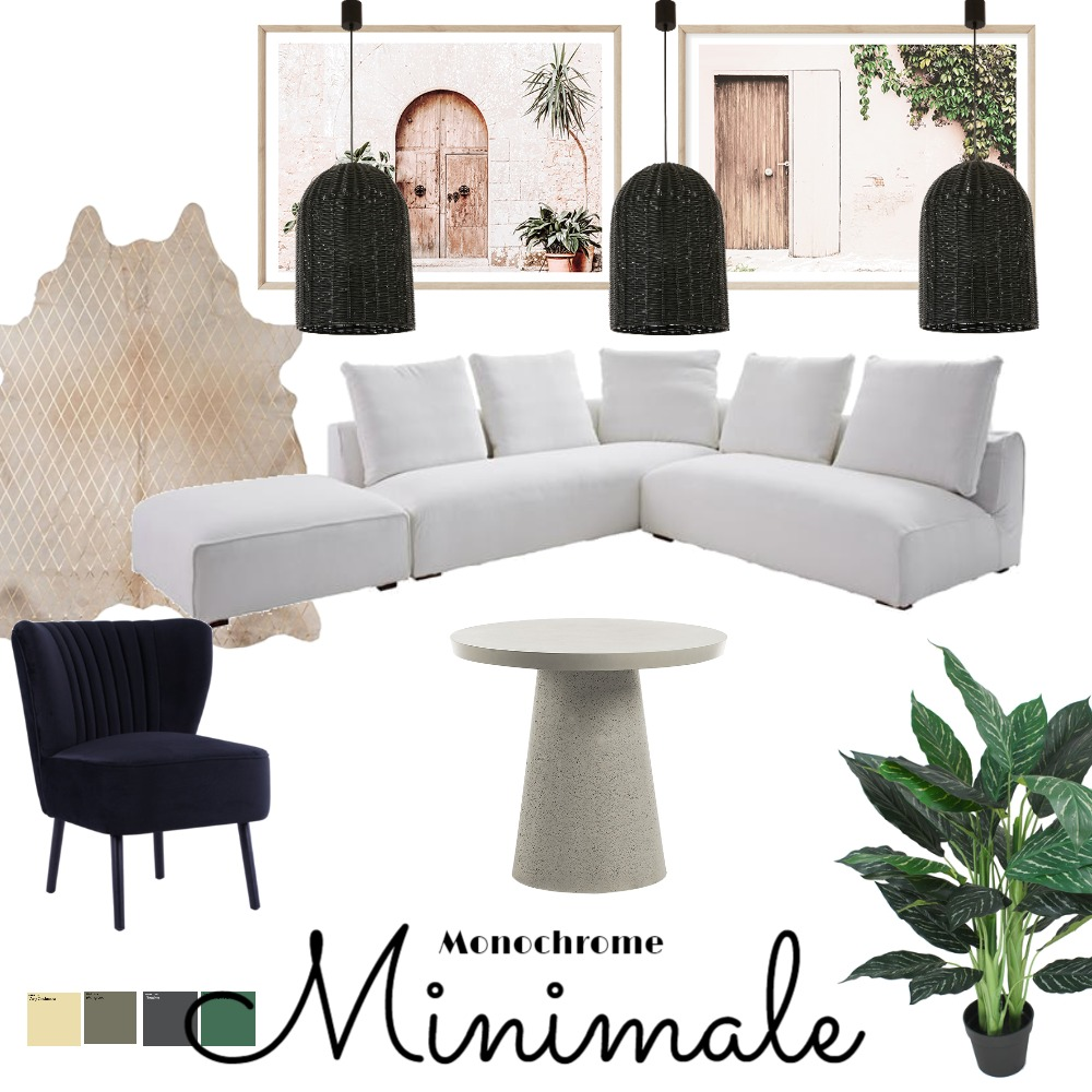 Monochrome minimale Interior Design Mood Board by courtsymons on Style Sourcebook