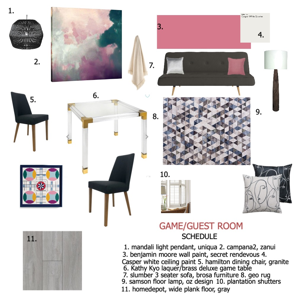 module 9/game/guest room Interior Design Mood Board by Tricia Gonzalez on Style Sourcebook
