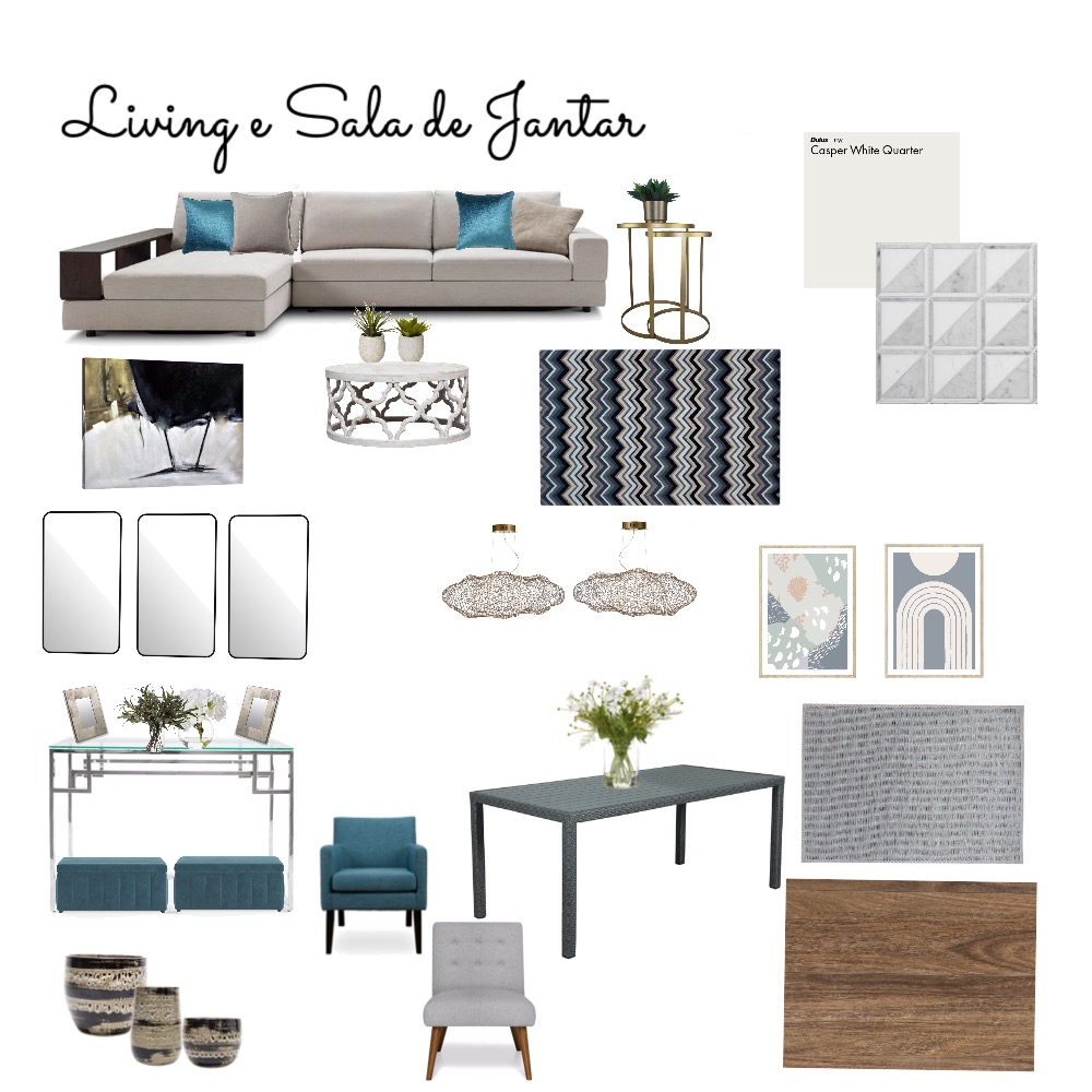 Living e Sala de Jantar Interior Design Mood Board by FICODesign on Style Sourcebook