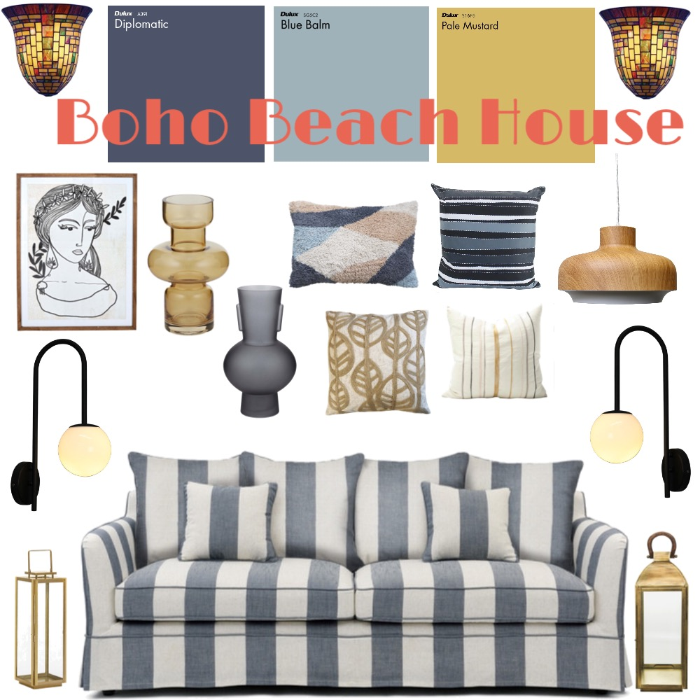Boho Beach House Interior Design Mood Board by Louise Kenrick on Style Sourcebook