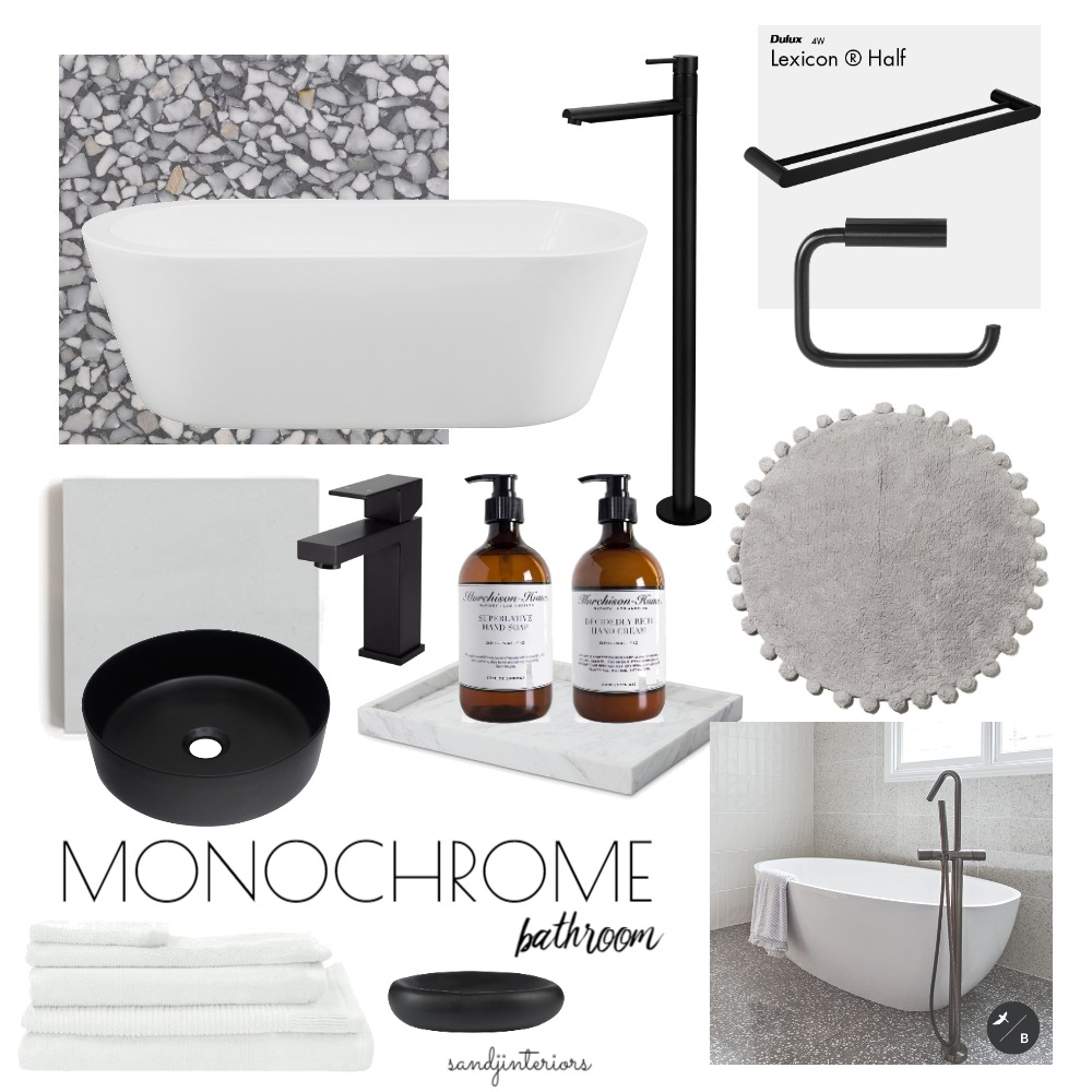 Monochrome Bathroom Interior Design Mood Board by S AND J INTERIORS on Style Sourcebook