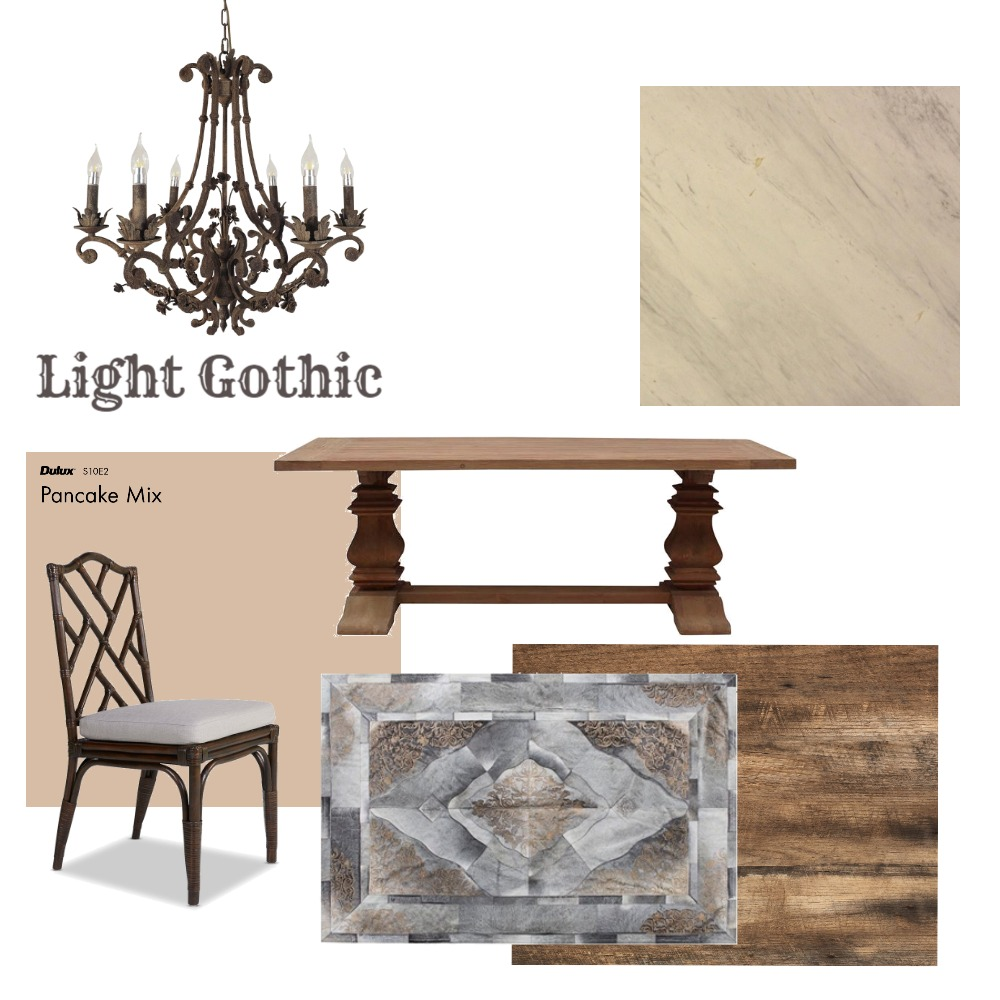 Light Gothic Dining Room Interior Design Mood Board by Michelle Drake on Style Sourcebook
