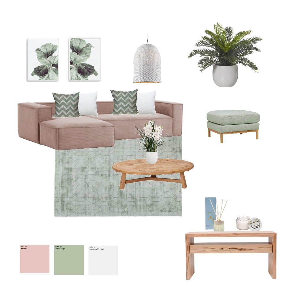 Pink and Green Living Room Interior Design Mood Board by ruthelindsey on Style Sourcebook