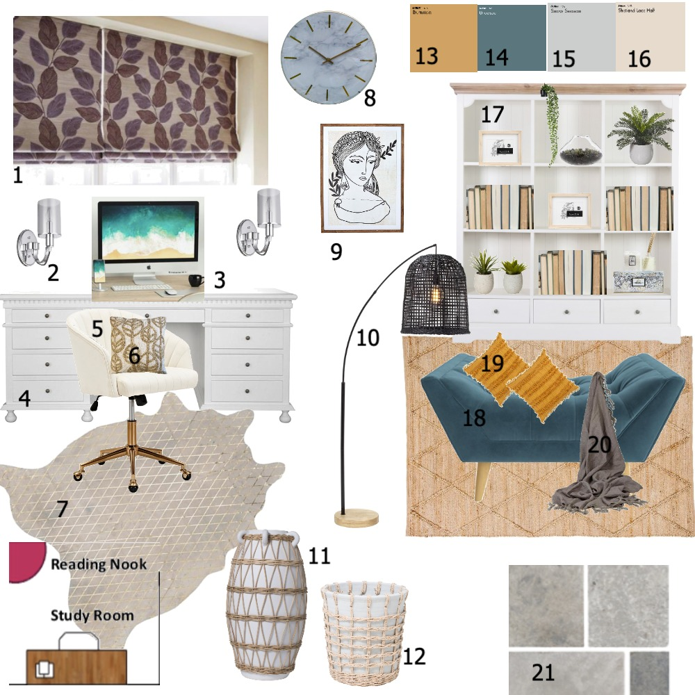 Sample Board- Study Interior Design Mood Board by hagarh on Style Sourcebook