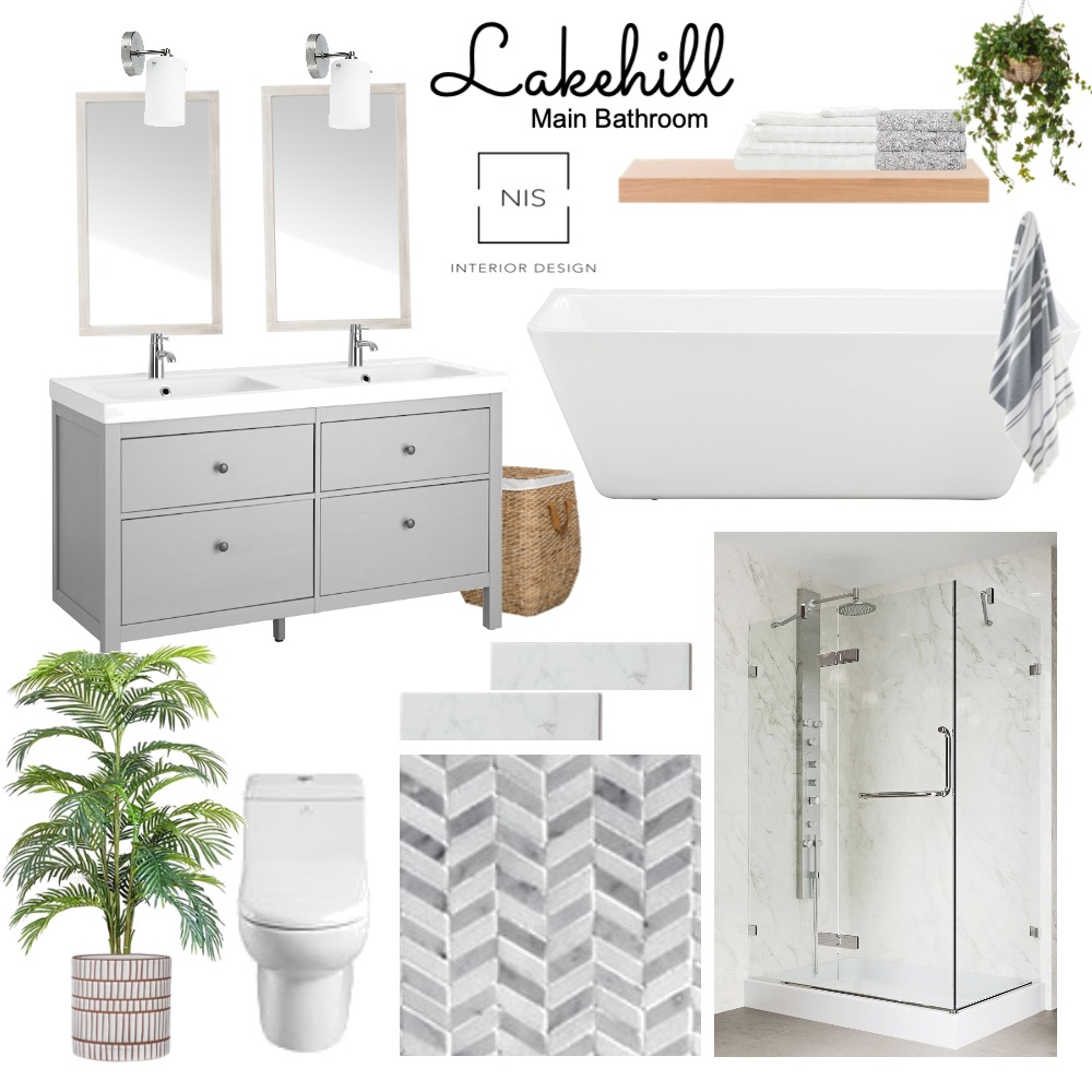 Lakehill Main Bathroom (option 1) Interior Design Mood Board by Nis Interior Design on Style Sourcebook