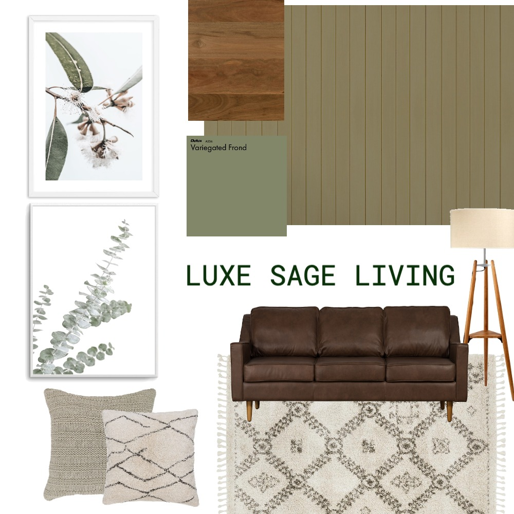 Luxe Sage Living Interior Design Mood Board by Olive et Oriel on Style Sourcebook