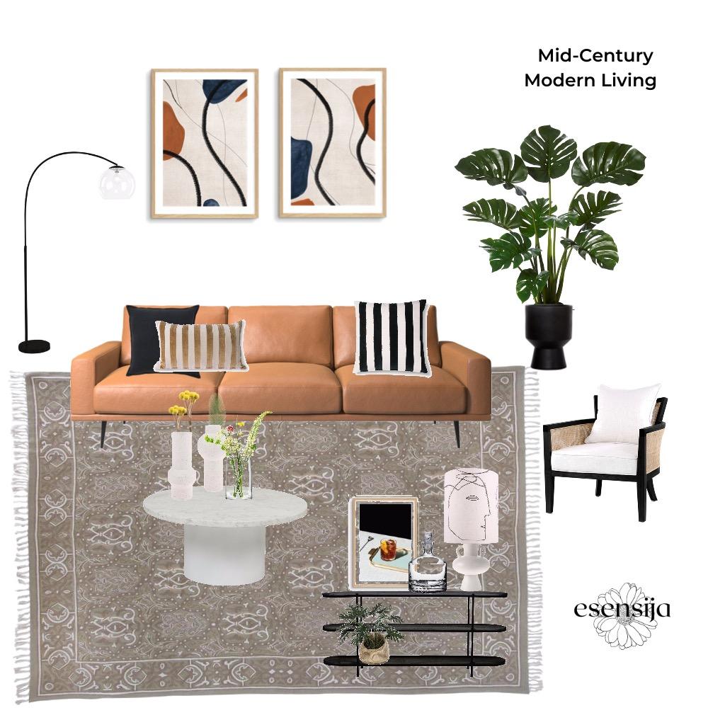 Mid-Century Modern Living Interior Design Mood Board by esensija on Style Sourcebook
