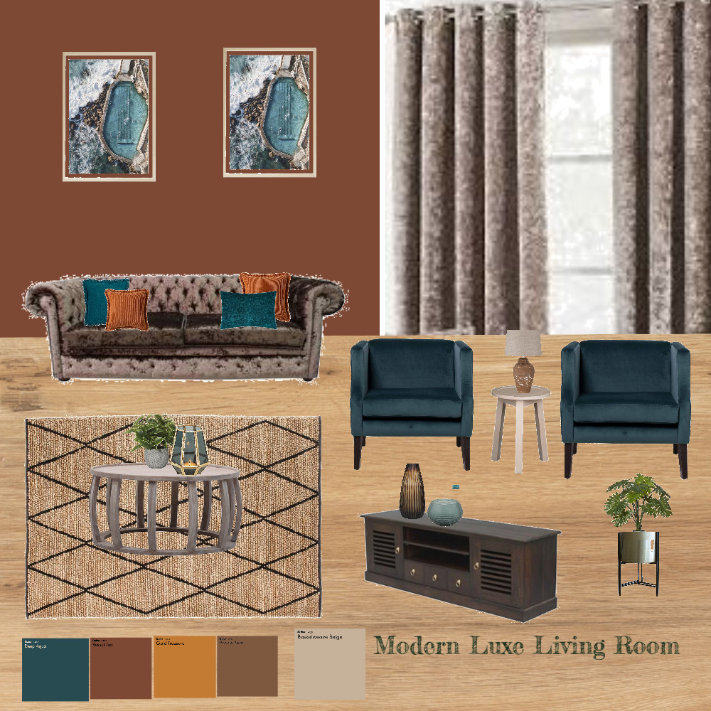 Modern Luxe Living Room Interior Design Mood Board by STYLEZ HOME DECOR on Style Sourcebook