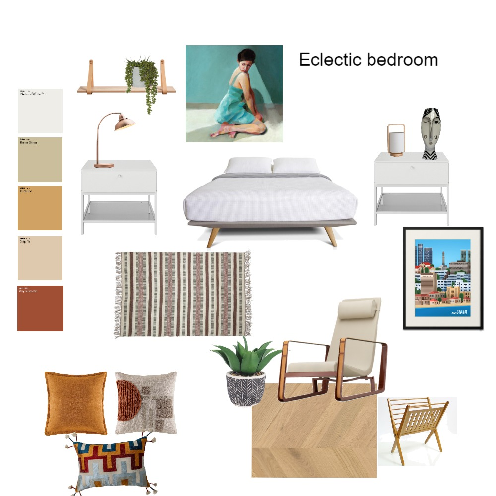 eclectic  bedroom Interior Design Mood Board by hila1973 on Style Sourcebook