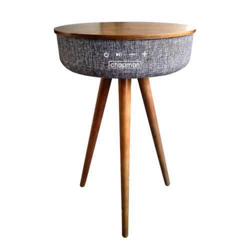 Dakota Wooden Side Table with Bluetooth Speaker & Powerbank Colour: Walnut
