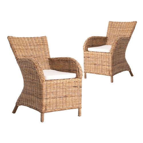 Set of 2 Twynam Rattan Dining Chairs