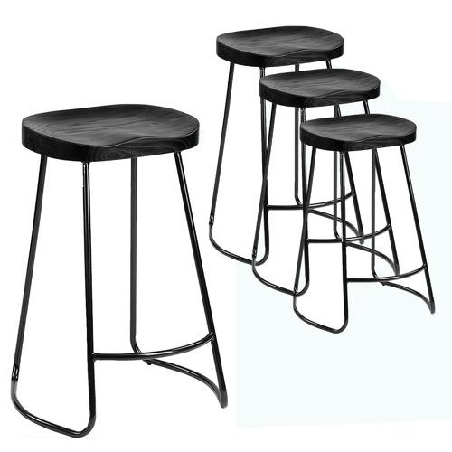 Set of 4 66cm Premium Vintage-Style Black Elm Wood Barstools with Black Legs