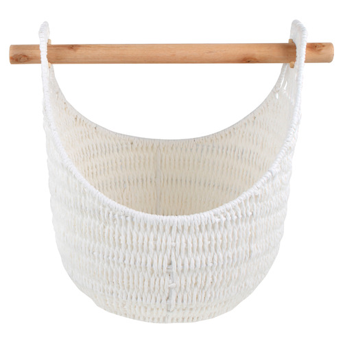 Hazel Rattan Storage Basket with Removable Pole Handle Colour: White