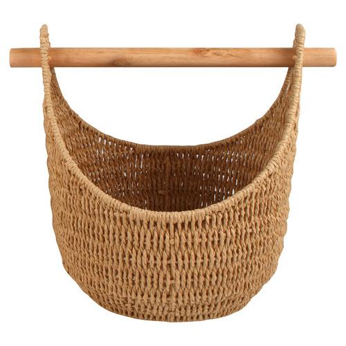 Hazel Rattan Storage Basket with Removable Pole Handle Colour: Natural