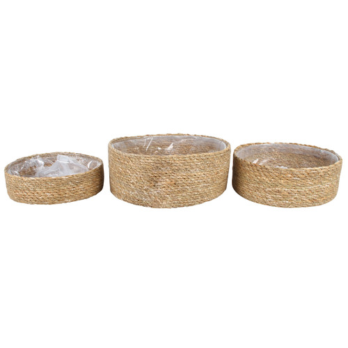 3 Piece Chara Lined Seagrass Basket Set