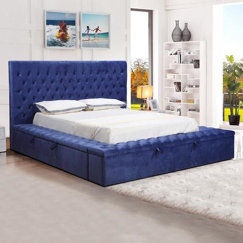 Blue Angeline Velvet Storage Bed Size: King