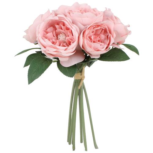 28cm Faux Deluxe Pink Rose Bouquet