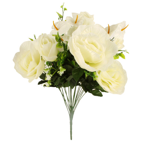 58cm Faux 18 Stem Rose & Lily Bouquet