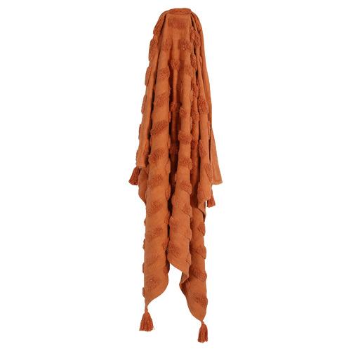 Tasselled Piol II Cotton Throw Colour: Terracotta