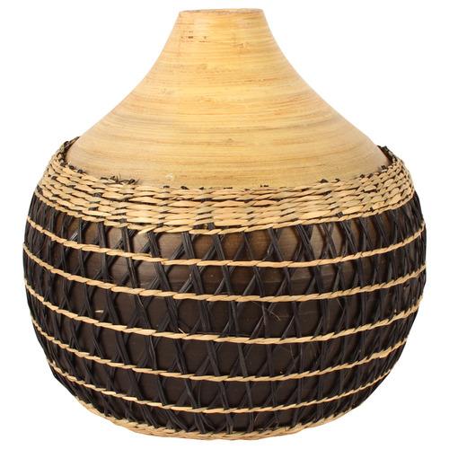 Natural Abui 26cm Bamboo & Rattan Vase