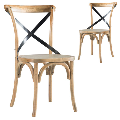 Set of 2 Deville Birch Wood Dining Chairs