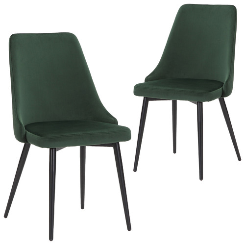 Set of 2 Brahms Velvet Dining Chairs Colour: Emerald Green