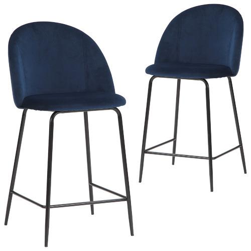 Set of 2 66cm Aria Velvet Barstools Colour: Navy Blue
