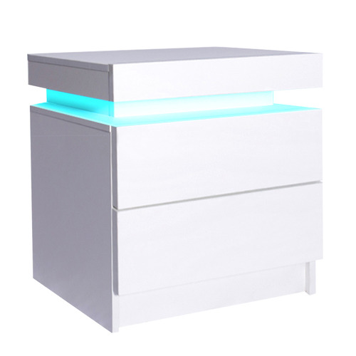 Levede Bedside Table with LED Colour: White