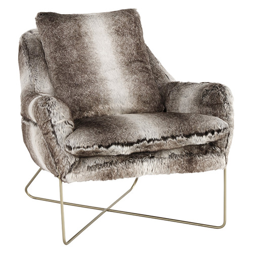 Brown & Grey Willow Faux Fur Accent Chair