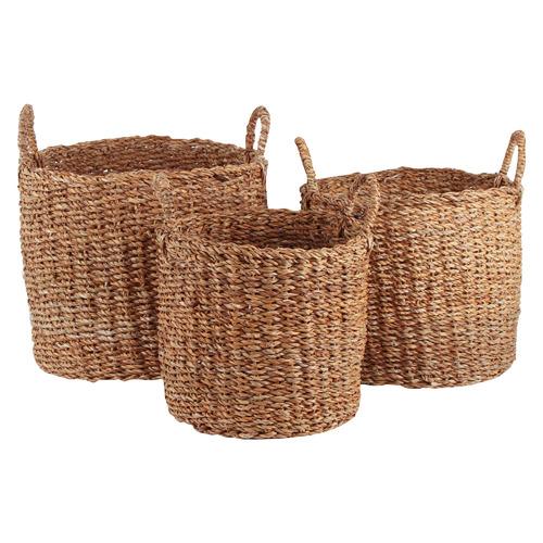 3 Piece Melanie Seagrass Laundry Basket Set