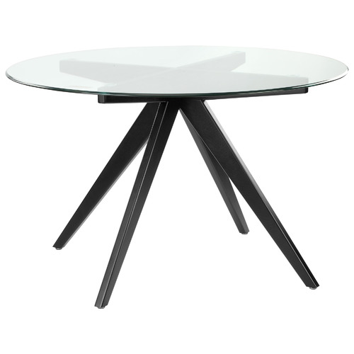 120cm Anders Round Glass-Top Dining Table Leg Colour: Black