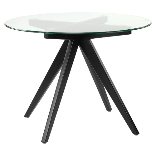 100cm Anders Round Glass-Top Dining Table Leg Colour: Black