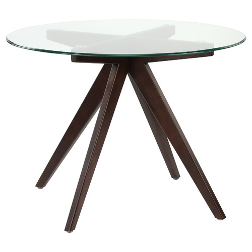100cm Anders Round Glass-Top Dining Table Leg Colour: Dark Timber