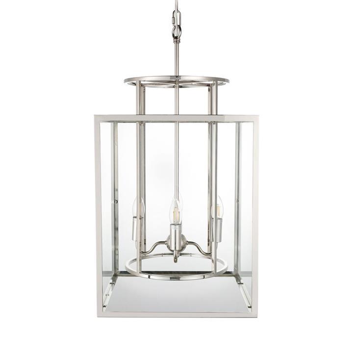 Concord Steel & Glass Pendant Light, Large, Nickel
